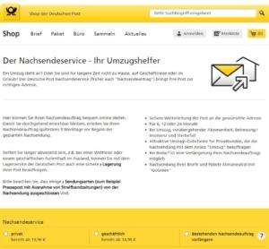 """Eingabefeld """"Auftragsart"""" im Nachsendeauftrag-Online-Formular im Shop der Deutschen Post"""