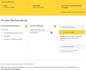 """Eingabefeld """"Grund"""" im Nachsendeauftrag-Online-Formular im Shop der Deutschen Post"""