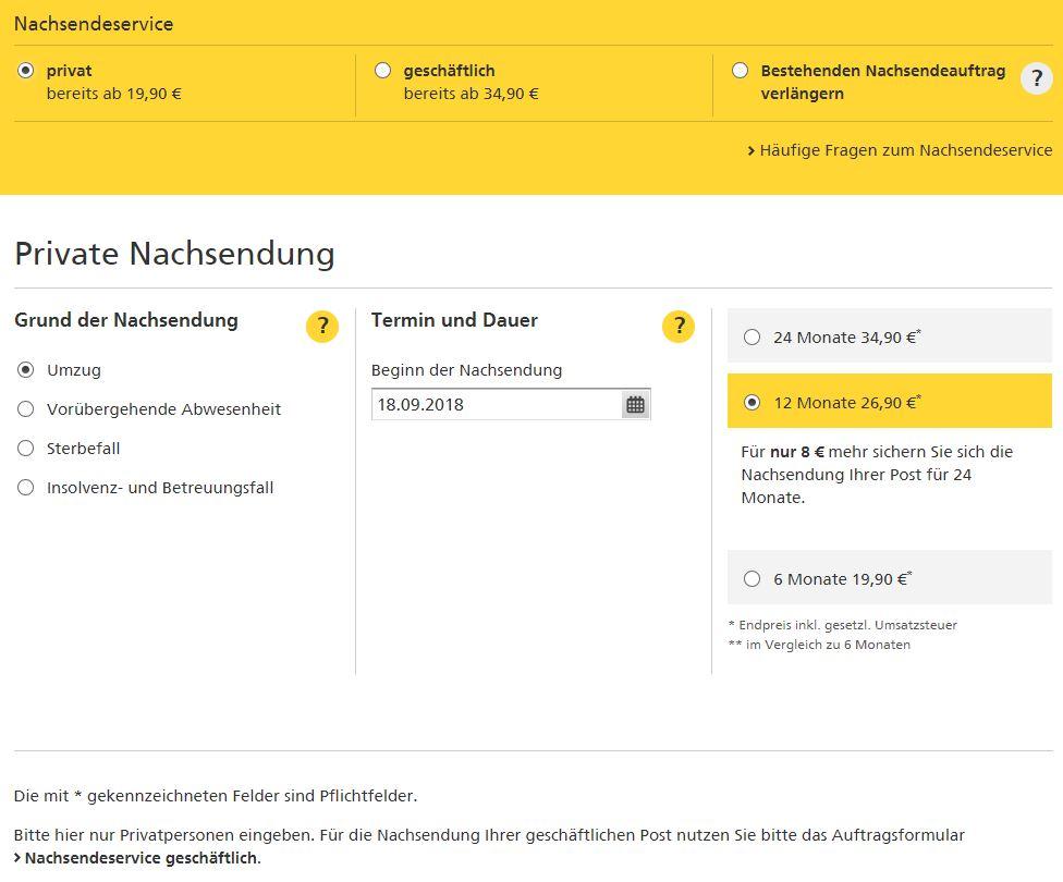 Nachsendeauftrag Online-Formular ausfüllen | Deutsche Post