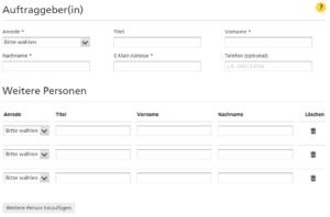 """Eingabefeld """"Auftraggeber"""" im Nachsendeauftrag-Online-Formular im Shop der Deutschen Post"""