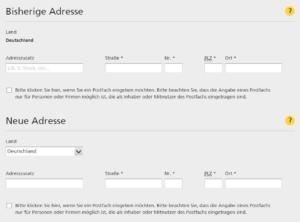 """Eingabefeld """"Alt- und Neuadresse"""" im Nachsendeauftrag-Online-Formular im Shop der Deutschen Post"""