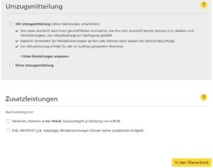 """Eingabefeld """"Umzugsmitteilung"""" und """"Zusatzleistungen"""" im Nachsendeauftrag-Online-Formular im Shop der Deutschen Post"""