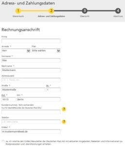 """Eingabefeld """"Rechnungsanschrift"""" im Nachsendeauftrag-Online-Formular im Shop der Deutschen Post"""